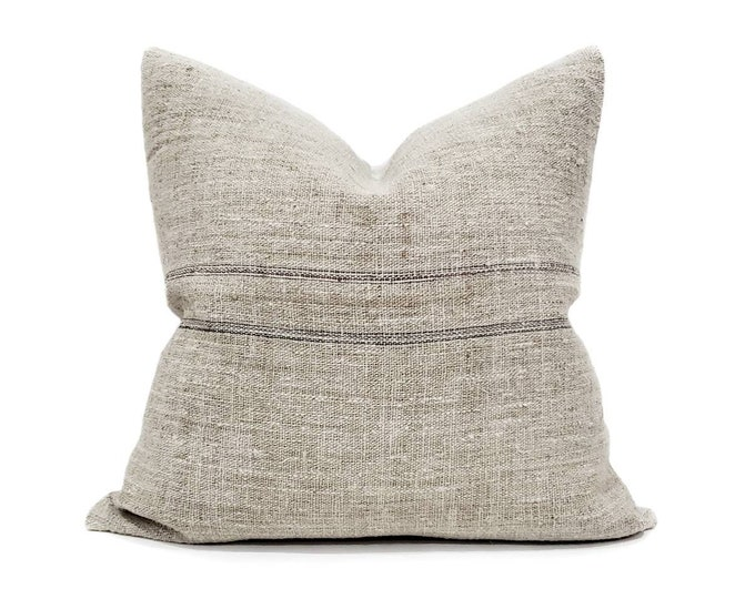 """Featured listing image: 20"""" vintage muted flax stripe grainsack pillow cover"""