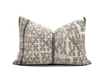 """13""""×19.5"""" grey batik hmong pillow"""