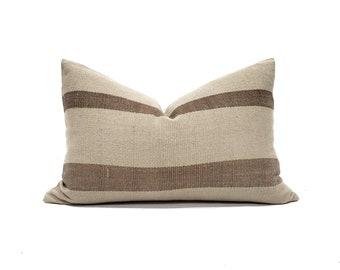 """14.5""""×22"""" khaki/brown stripe Asian textile cotton pillow cover"""