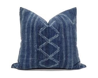 """18""""×19"""" indigo mudcloth pillow cover"""