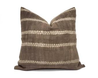"19"" dark brown hemp linen hmong batik bone print pillow cover"