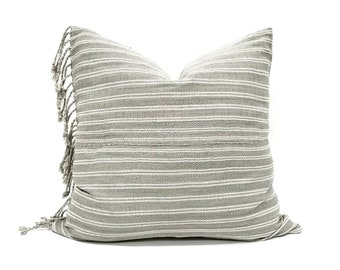 "21"" fringe on side sage grey Asian textile cotton stripe pillow cover"