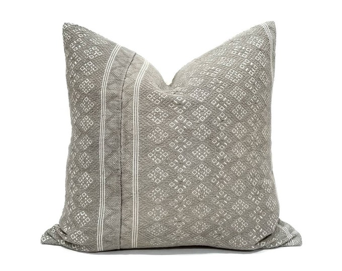 """Featured listing image: 20"""" grey(olive & beige undertone) Chinese wedding blanket pillow cover"""