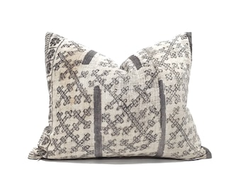 "DISCOUNTED 16""×19.5"" Hmong grey batik hemp linen pillow cover"