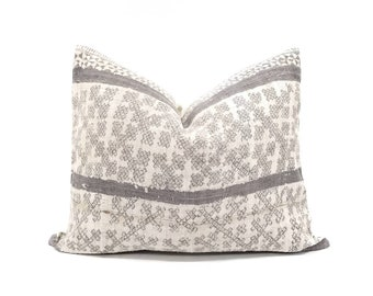 "16""x20"" grey batik hmong hemp linen pillow cover"