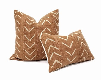 Rust big arrow mudcloth pillow cover in various sizes