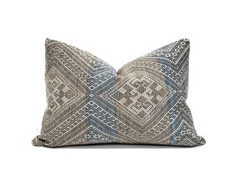"14""×19.75"" grey/blue Chinese wedding blanket pillow cover"