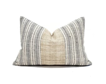 """13""""×18.75"""" natural hemp linen+ Hmong black stripe pillow cover"""
