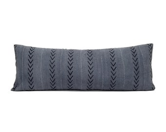 """13""""×35"""" slate grey mudcloth bed pillow"""