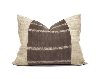 "16""×20"" dark brown hemp linen hmong bone batik print + sand hemp pillow cover"