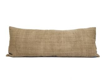"""12""""x35"""" camel hemp linen hmong bed pillow cover"""