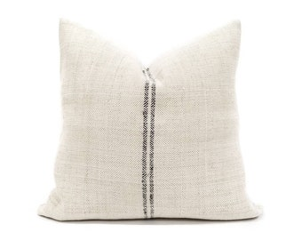 "19.5"" vintage herringbone grainsack black stripe pillow cover"