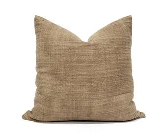 """18"""" camel hemp linen Hmong pillow cover"""