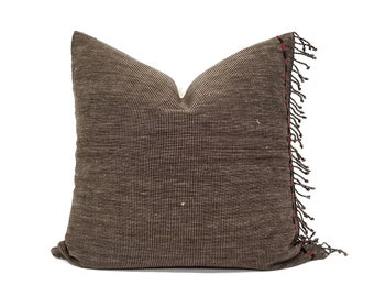 "19""×20"" fringe on side brown/black stripe Asian textile pillow cover"