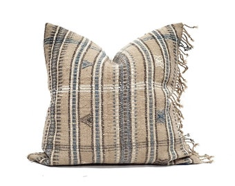 "20"" fringe on side sand Indian wool pillow cover"