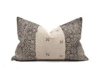 "13""×20"" black flower batik block printed on flax linen pillow cover"