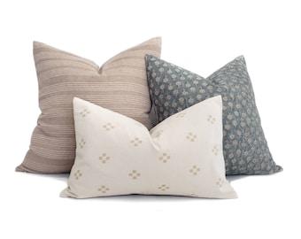 Pillow combo, teal/sand/cream pillow combo of 3 pillows
