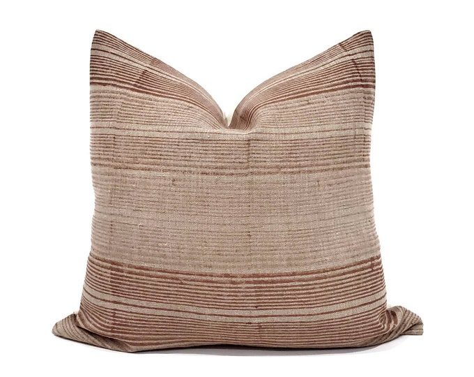 Featured listing image: Terra cotta variegated stripe hand block printed flax linen pillow cover