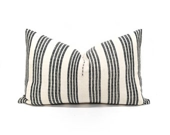 "14""x 22"" charcoal grey/black stripe Asian textile cotton pillow cover"