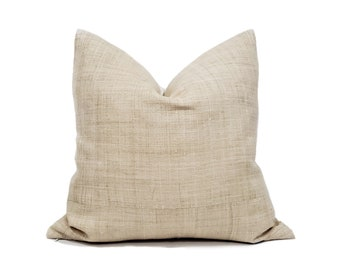 "20"" natural hemp linen Hmong pillow cover"