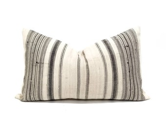 "13""×22"" light flax & black stripe hmong hemp linen pillow cover"