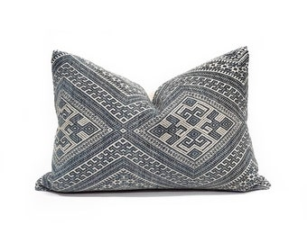 """14""""×19.75"""" muted indigo Chinese wedding blanket pillow cover"""