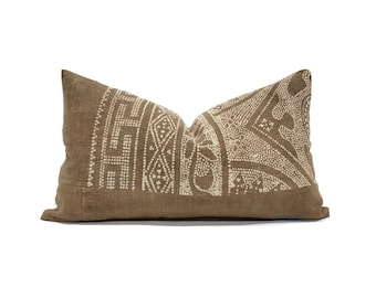 "13""×22"" brown Chinese batik pillow cover"