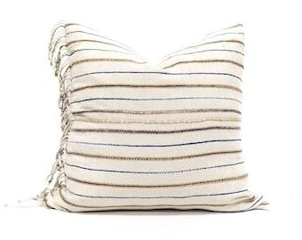 "20"" cream stripe Asian textile cotton pillow with fringe"