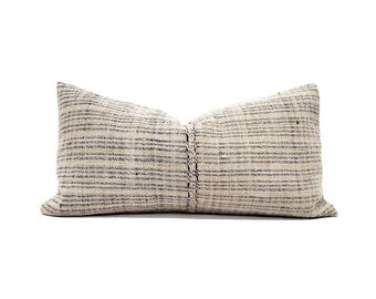 "12""×23"" beige w/ muted indigo stripe fireweed Chinese hemp linen pillow cover"