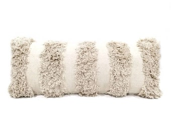 "14""x36"" cream cotton fringe pillow cover"