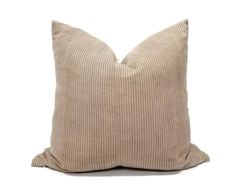 "20"" dusty beige nude pinstripe hemp hmong pillow cover"