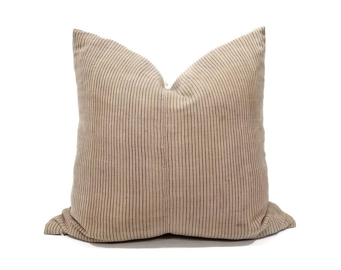 "Featured listing image: 20"" dusty beige nude pinstripe hemp hmong pillow cover"