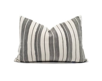Grey stripe vintage African textile pillow cover