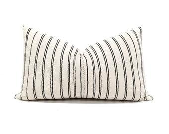 "13""×22"" cream/black stripe Asian textile cotton pillow cover"
