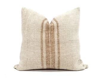 """18.5"""" vintage grainsack rust stripe pillow cover"""