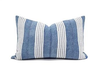 """12""""x19"""" Indigo stripe mudcloth pillow cover"""