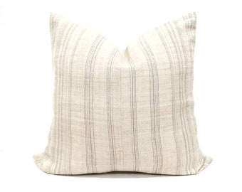 "23"" vanilla cream w/ grey stripe hmong hemp pillow cover"