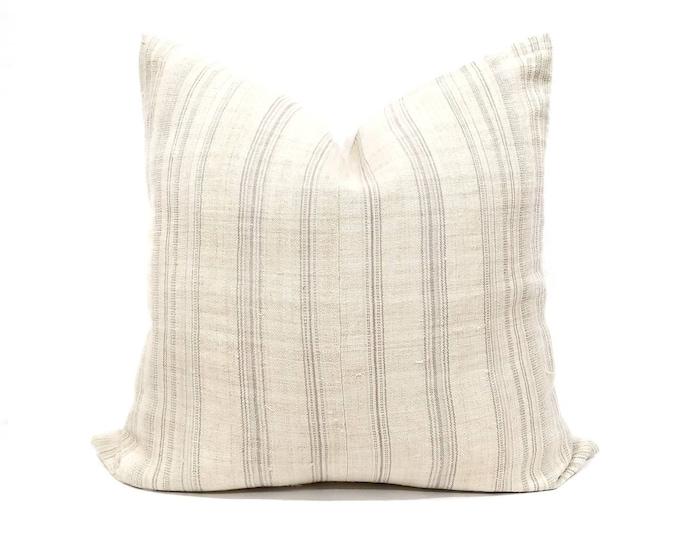 "Featured listing image: 23"" vanilla cream w/ grey stripe hmong hemp pillow cover"