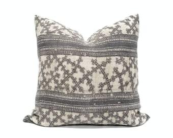 "Custom listing for Misti, 23"" brownish gray hmong hemp batik pillow cover"