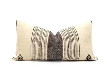 "12""×22.5"" cream w/brown stripe indian wool pillow cover"