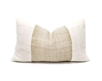 """12""""×20"""" flax hemp linen+ cream mudcloth pillow cover"""