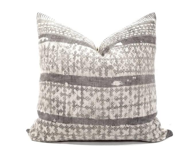 """Featured listing image: 22.5"""" grey Hmong hemp batik pillow cover"""