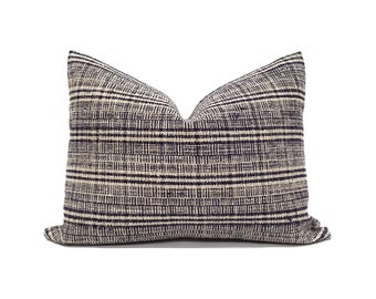 Various sizes indigo hemp linen hmong pillow cover