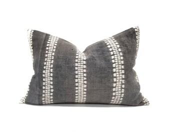 """14""""×20"""" charcoal bone print hmong batik hemp linen pillow"""