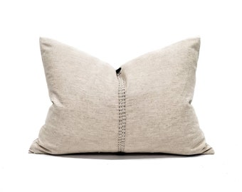 "17""×23"" oatmeal embroidered linen/cotton pillow cover"