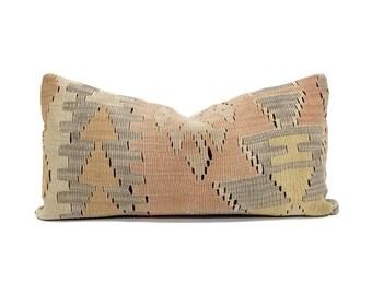 "12""×24"" Turkish kilim pillow"