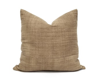 Various square sizes Camel hemp linen Hmong pillow cover