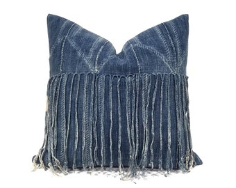 "20"" fringe indigo mudcloth pillow cover"