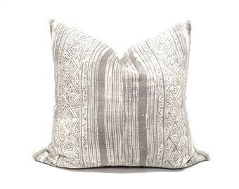 "20"" grey/cream Hmong hemp batik pillow cover"