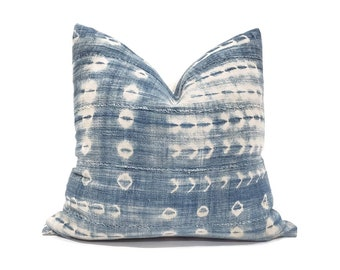 "Indigo mudcloth pillow cover, 18"" indigo mudcloth pillow, African mudcloth pillow, denim pillow cover"